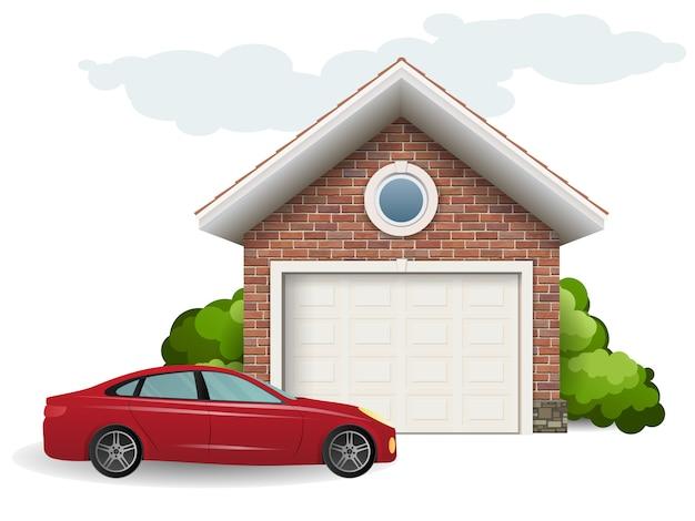 Garaje de ladrillos y coche.