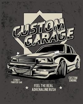 Garaje personalizado, ilustración de una modificación de coche de carreras clásico