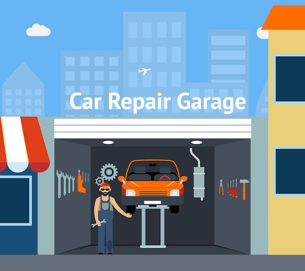 Garaje de reparación de automóviles de dibujos animados con ilustración de señalización con reparador