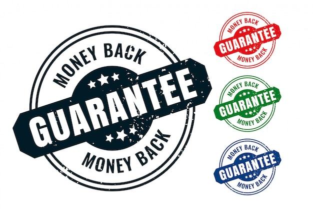 Garantía de devolución de dinero sello de goma sello sello conjunto