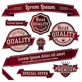 Garantía retro de estilo vintage y colección de plantillas de banner y etiqueta adhesiva de calidad.