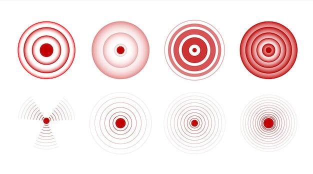 Garganta círculo dolor signo cuerpo herido símbolo rojo