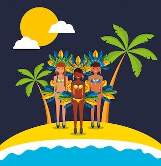 Garotas brasileñas bailando ilustración de personajes de carnaval