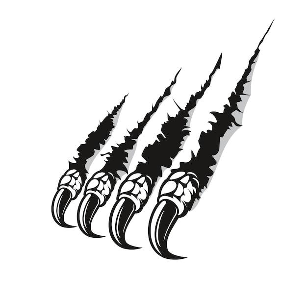 Garra de dragón marca arañazos, dedos monstruosos.