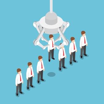 Garra robótica isométrica recogiendo empresario