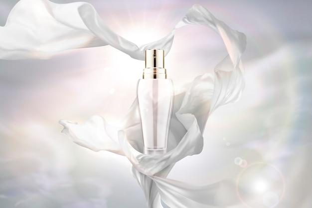 Gasa blanca perla y botella de spray sobre fondo brillante