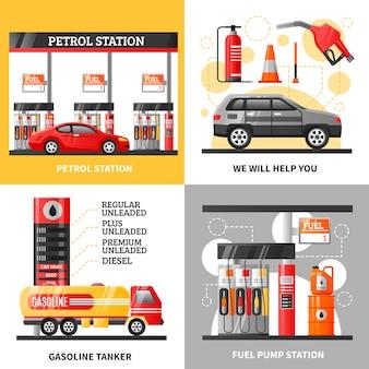 Gasolina y gasolinera 2x2 design concept