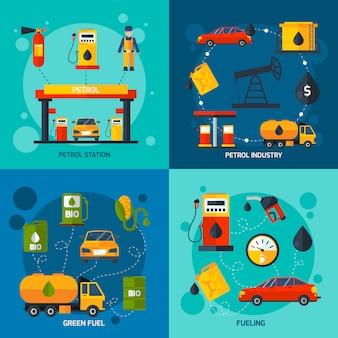 Gasolinera 4 iconos planos cuadrados