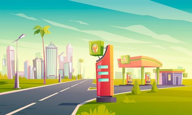 Gasolinera con bomba de aceite y mercado en carretera