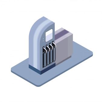 Gasolinera, icono de columna isométrica. ilustración, sobre fondo blanco.