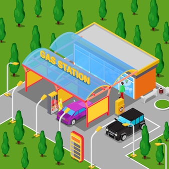 Gasolinera isométrica con autos, técnico y conductor