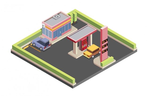 Gasolinera isométrica, coche, estacionamiento, tienda de conveniencia, ilustración