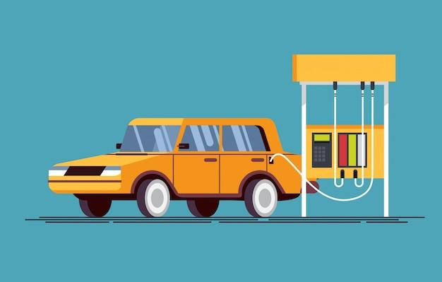 Gasolinera. el llenado del trabajador llena la gasolina en el automóvil.
