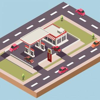 Gasolinera y tienda en una ciudad.