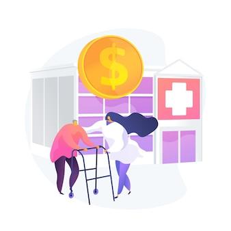Gastos de salud de los pensionistas. tratamiento de pacientes seniles, financiación presupuestaria, programa de seguro médico. enfermera ayudando a anciano, cliente jubilado. ilustración de metáfora de concepto aislado de vector