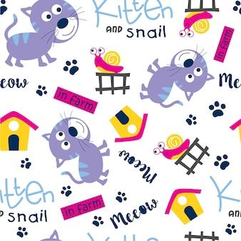 Gatito y caracol, diseño de patrones sin fisuras.