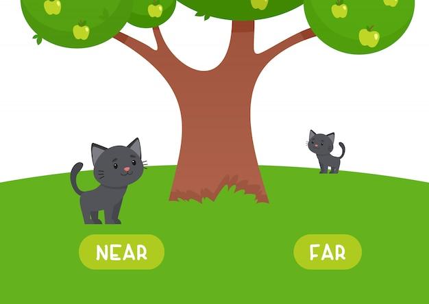 El gatito está cerca y lejos. ilustración de opuestos cercanos y lejanos.