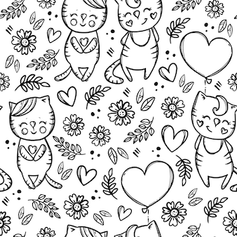 Gatito del día del gato de san valentín sosteniendo un patrón sin costuras de dibujos animados dibujados a mano monocromo de globo en forma de corazón