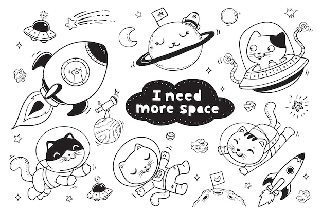 Gatito en el espacio doodle para niños