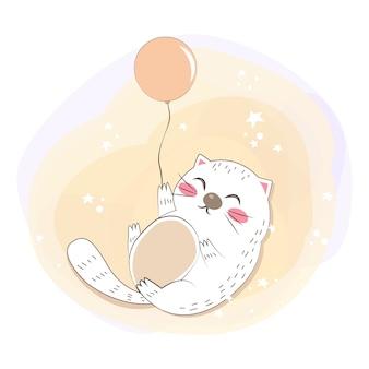 Gatito gordo con la ilustración del globo