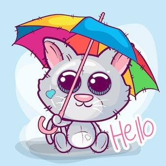 Gatito lindo de la historieta con un paraguas.