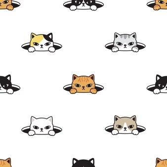 Gatito de patrones sin fisuras gato escondido