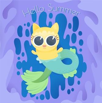 Gatito sirena en verano