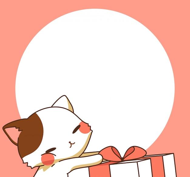 Gato abraza caja de regalo de dibujos animados y marco de círculo