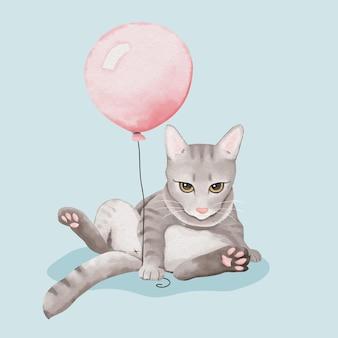 Gato acuarela y globo rosa
