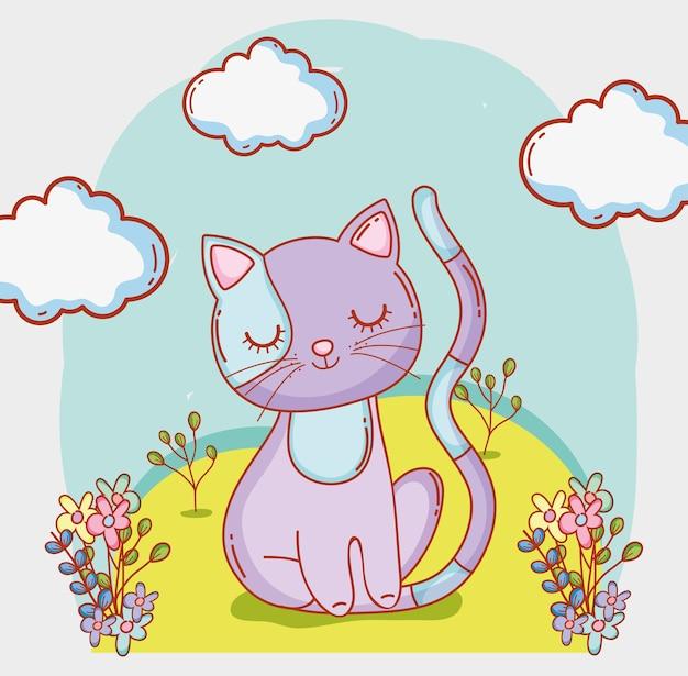 Gato animal con nubes y flores plantas