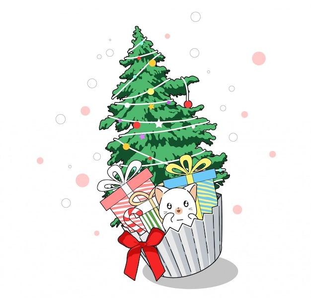 Gato con árbol de navidad en una taza