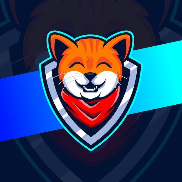 Gato bandana gamer mascota esport logo design