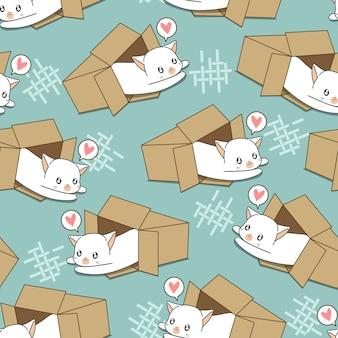 Gato blanco inconsútil en el patrón de caja.