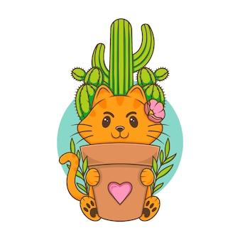 Gato botánico kawaii lindo ilustración