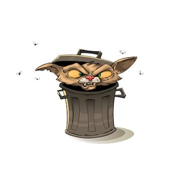Gato en el bote de basura