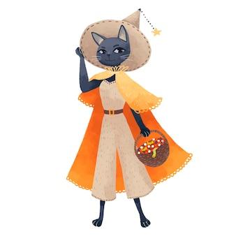 Un gato brujo con sombrero y un traje desnudo con un impermeable naranja con una canasta de dulces y manzanas en sus manos para halloween