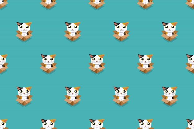 Gato en caja de cartón de patrones sin fisuras vector ilustración de dibujos animados