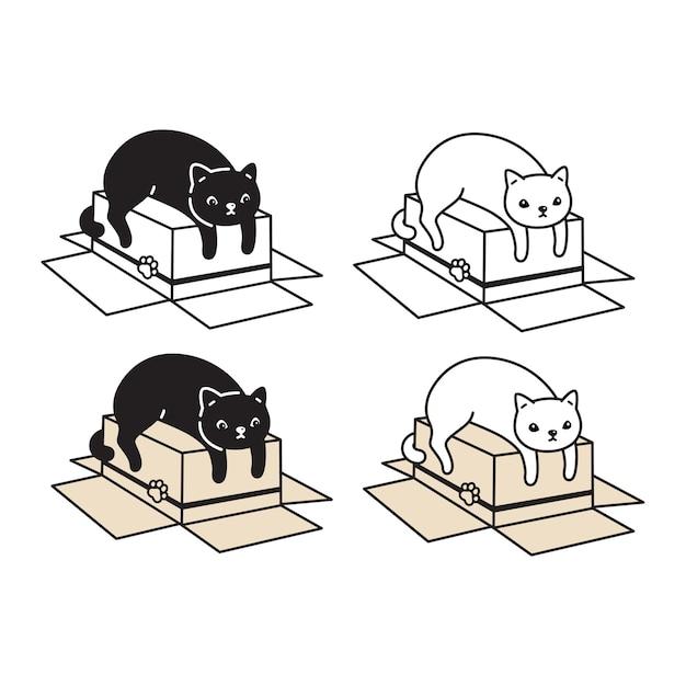 Gato, caja de papel, icono, carácter, caricatura