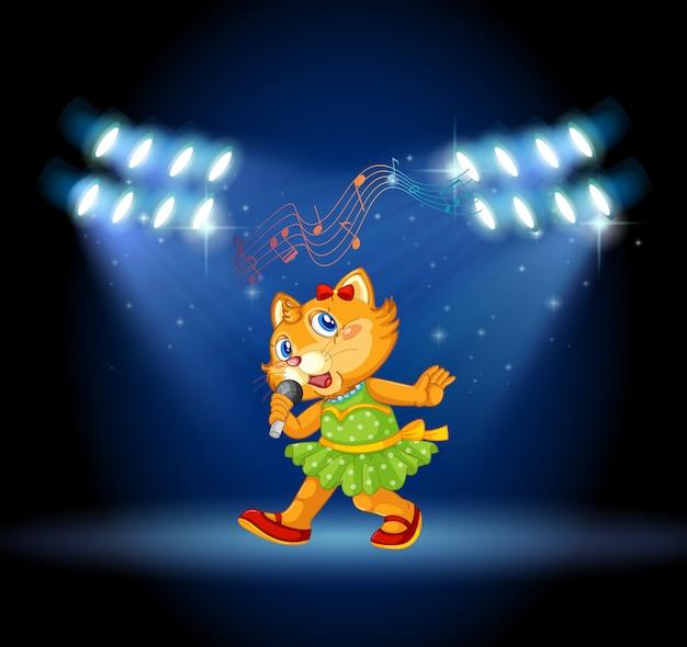 Un gato cantando en el escenario.