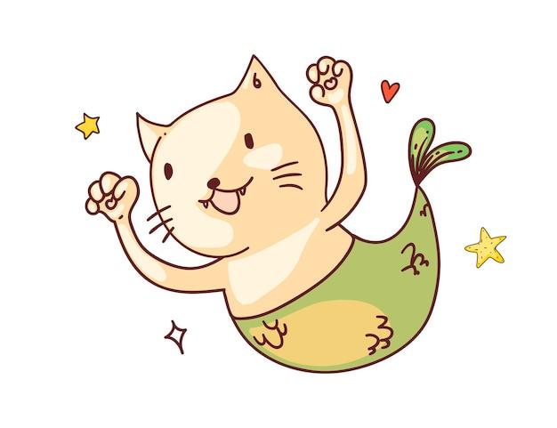 Gato con cola de sirena. pez gato sirena feliz divertido con dibujo de boceto de personaje de dibujos animados de cola. lindo, alegre, animal, garabato, arte