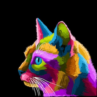 Gato colorido retrato del arte pop arte lineal pósters