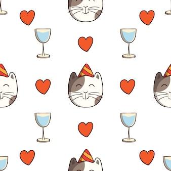Gato de cumpleaños con bebida y amor en patrones sin fisuras con estilo de dibujo coloreado sobre fondo blanco.