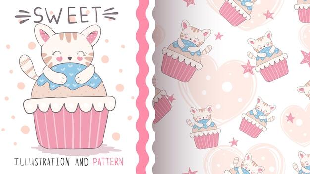 Gato en cupcake de patrones sin fisuras e ilustración