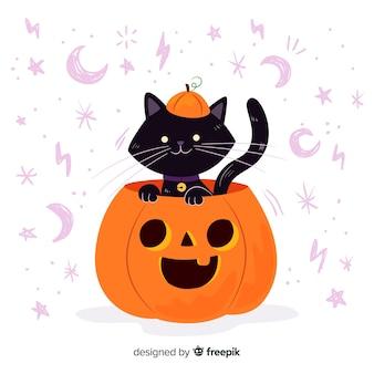 Gato dentro de un diseño plano de calabaza de halloween
