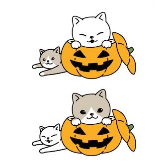 Gato de dibujos animados de calabaza de halloween gatito personaje