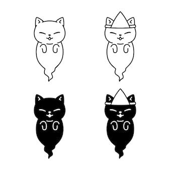 Gato de dibujos animados de carácter fantasma de halloween