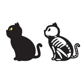 Gato de dibujos animados esqueleto de halloween