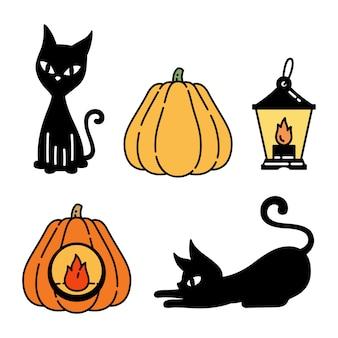 Gato dibujos animados halloween calabaza lámpara gatito