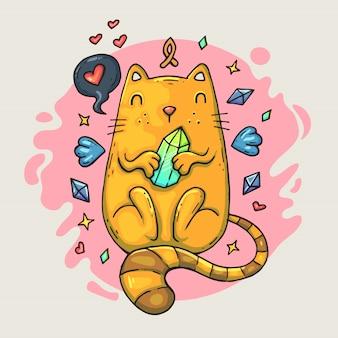 Gato de dibujos animados lindo con un corazón y alas.