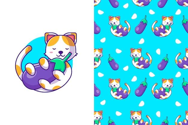 Gato de dibujos animados lindo de patrones sin fisuras con berenjena